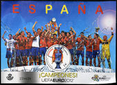 SPAIN - CIRCA 2012: A stamp printed in Spain shows the Spanish football champions of Europe, circa 2012 — Fotografia Stock