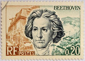 FRANCE - CIRCA 1963: A stamp printed in France shows Ludwig van Beethoven, famous classical music composer and virtuoso pianist, circa 1963 — Zdjęcie stockowe