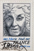 FRANCE - CIRCA 1967: A stamp printed in France shows Marie Noel, circa 1967 — Foto de Stock