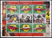 GUINEA - CIRCA 1988: Stamps printed in Guinea dedicated to anniversary of Enzo Ferrari, circa 1988 — Stock Photo