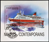 MADAGASCAR - CIRCA 1994: stamp printed in Madagascar shows Finnish car-ferry, viking line, circa 1994 — Stock Photo