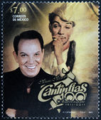 MEXICO - CIRCA 2011: A stamp printed in Mexico shows Mario Moreno Cantinflas, circa 2011 — Stock Photo