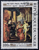 "REPUBLIC NIGER - CIRCA 1978: A stamp printed in Niger shows draw by Peter Paul Rubens ""History of Marie de' Medici"", circa 1978 — Stock Photo"