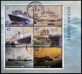 UNITED KINGDOM - CIRCA 2004: Collection stamps printed in Great Britain dedicated to ocean liners, circa 2004 — Stock Photo