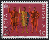 SWITZERLAND - CIRCA 1982: a stamp printed in Switzerland shows Oath of Eternal Fealty, circa 1982 — Foto de Stock