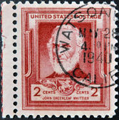 UNITED STATES OF AMERICA - CIRCA 1940: A stamp printed in USA shows John Greenleaf Whittier, circa 1940 — Stock Photo