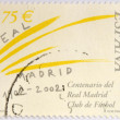 SPAIN - CIRCA 2002: Stamp printed in spain commemorating the centenary of the Real Madrid football club, circa 2002 — Stock Photo