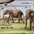 Royalty-Free Stock Photo: LAOS - CIRCA 1987: A stamp printed in Laos shows Elephants, circa 1987