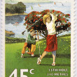 NEW ZEALAND - CIRCA 1995: A stamp printed in New Zealand, shows the game of golf, the field of Waitangi (15 holes), circa 1995 — Stock Photo