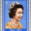 NEW ZEALAND - CIRCA 1977: A Stamp printed in New Zealand shows Portrait of Queen Elizabeth, circa 1977. — Stock Photo