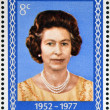 NEW ZEALAND - CIRCA 1977: A Stamp printed in New Zealand shows Portrait of Queen Elizabeth, circa 1977. — Foto Stock