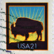 UNITED STATES OF AMERICA - CIRCA 2001: A stamp printed in USA shows a bison, circa 2001 — Stock Photo