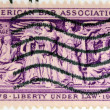 UNITED STATES OF AMERICA - CIRCA 1953: A Stamp printed in USA shows the Section of Frieze, Supreme Court Room, American Bar Association, circa 1953 - Stock Photo