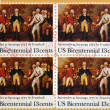 Stock Photo: UNITED STATES OF AMERIC- CIRC1977: stamp printed in USshows Painting Surrender of Burgoyne at Saratogby John Trumbull 1777, circ1977