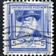 图库照片: UNITED STATES OF AMERIC- CIRC1940: stamp printed in USshows Walt Whitman, circ1940
