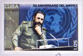 CUBA - CIRCA 2009: a stamp printed in Cuba showing an image of Fidel Castro, circa 2009. — Stock Photo