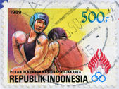 REPUBLIK INDONESIA - CIRCA 1989: A stamp printed in Indonesia dedicated to the Boxing, circa 1989. — Stock Photo