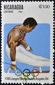 NICARAGUA - CIRCA 1982: A stamp printed in Nicaragua shows Artistic Gymnastics , circa 1983 — Stockfoto