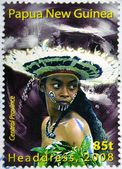 PAPUA NEW GUINEA - CIRCA 2000: Stamp printed in Papua New Guinea shows a woman in a feathered headdress from the Central Province, circa 2000 — Stock Photo