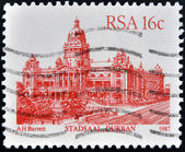 RSA - CIRCA 1987: A stamp printed in Republic of South Africa, shows Stadsaal Durban, circa 1987 — Stock Photo