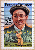 UNITED STATES OF AMERICA - CIRCA 1962: A stamp printed in USA shows a portrait Francis Ouimet, US Open Champion, 1913, circa 1962 — Stock Photo