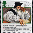 GERMANY - CIRCA 1988: Stamp printed in Germany shows William Morgan, translator of the first complete Bible into the Welsh language 1588, circa 1988 — Stock Photo #23302374