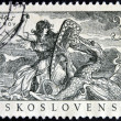 Stock Photo: CZECHOSLOVAKI- CIRC1952: stamp printed in Czechoslovakishows legend of Trutnov dragon, circ1952