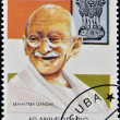 Royalty-Free Stock Photo: CUBA - CIRCA 1997 : A stamp printed in Cuba shows Mahatma Gandhi on the 50th anniversary of Independence of India, circa 1997