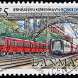 Stock Photo: DENMARK - CIRC1997: stamp printed in Denmark shows Copenhagen train station, circ1997
