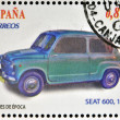 Stock Photo: SPAIN - CIRC2012: Stamps printed in Spain dedicated to classic car, shows Seat 600, 1957, circ2012