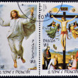SAO TOME AND PRINCIPE - CIRCA 1983: Stamps printed in Sao Tome shows Transfiguration of Christ and Christ Crucified by Raphael, circa 1983 — Stock Photo