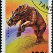 TANZANIA - CIRCA 1994: stamp printed in Tanzania shows a dinosaur Uintaterius from the series Prehistoric Animals circa 1994  — Stock Photo