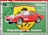 GUINEA - CIRCA 1998: Stamp printed in Guinea dedicated to anniversary of Enzo Ferrari, shows Ferrari 410 Superamerica, circa 1998 — Stock Photo