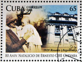 CUBA - CIRCA 2008: Stamp printed in Cuba dedicated to 80th anniversary of the birth of Ernesto Che Guevara, circa 2008 — Stok fotoğraf