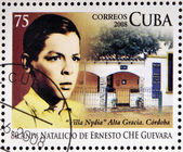 CUBA - CIRCA 2008: Stamp printed in Cuba dedicated to 80th anniversary of the birth of Ernesto Che Guevara, circa 2008 — Foto de Stock