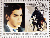 CUBA - CIRCA 2008: Stamp printed in Cuba dedicated to 80th anniversary of the birth of Ernesto Che Guevara, circa 2008 — Стоковое фото