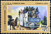 CUBA - CIRCA 2008: A stamp printed in Cuba shows Church 1835, vintage cars, circa 2008 — Stock Photo