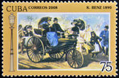 CUBA - CIRCA 2008: A stamp printed in Cuba shows Benz 1890, vintage cars, circa 2008 — Foto de Stock