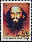 CUBA - CIRCA 2004: A Stamp printed in Cuba devoted 45 years of disappearance of Comandante Camilo Cienfuegos, circa 2004 — Stock Photo
