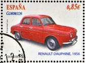 SPAIN - CIRCA 2012: Stamps printed in Spain dedicated to classic car, shows Renault Dauphine, 1956, circa 2012 — Stock Photo