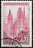 FRANCE - CIRCA 1957: A stamp printed in the France shows Rouen Cathedral, circa 1957 — Stock Photo