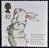 UNITED KINGDOM - CIRCA 2006: A stamp printed in Great Britain dedicated to animal tales, shows White Rabbit from Lewis Caroll's 'Alice's Adventures in Wonderland', circa 2006 — 图库照片