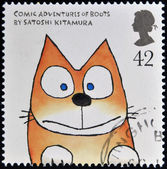 UNITED KINGDOM - CIRCA 2006: A stamp printed in Great Britain dedicated to animal tales, shows 'Comic Adventures of Boots' by Satoshi Kitamura, circa 2006 — Stock Photo