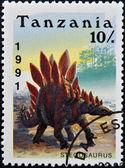 TANZANIA - CIRCA 1991: a stamp printed in Tanzania shows dinosaur Stegosaurus, circa 1991 — Stock Photo