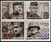 UNITED STATES OF AMERICA - CIRCA 2000: Stamps printed in USA dedicated to Military or Armed Forces shows Distinguished Soldiers, circa 2000 — Stock Photo