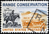 UNITED STATES OF AMERICA - CIRCA 1961: A stamp printed in USA shows The Trail Boss and Modern Range, circa 1961 — Stock Photo