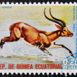 EQUATORIAL GUINEA - CIRCA 1974: Stamp printed in Guinea dedicated to endangered animals, shows kob lechwy, Africa,  circa 1974 - Stock Photo