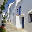 Stock Photo: Townhouses along typical whitewashed village street, Frigiliana, Andalusia