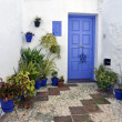 Corner in a typical whitewashed village street, Frigiliana, Andalusia — Stock Photo