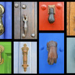 Collection of old door knockers — Stock Photo #24402901